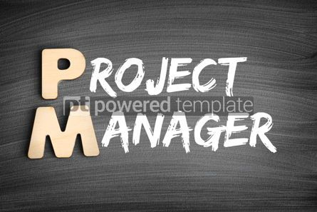 Business: PM - Project Manager acronym business concept on blackboard #16284