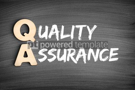 Business: QA - Quality Assurance acronym business concept on blackboard #16285