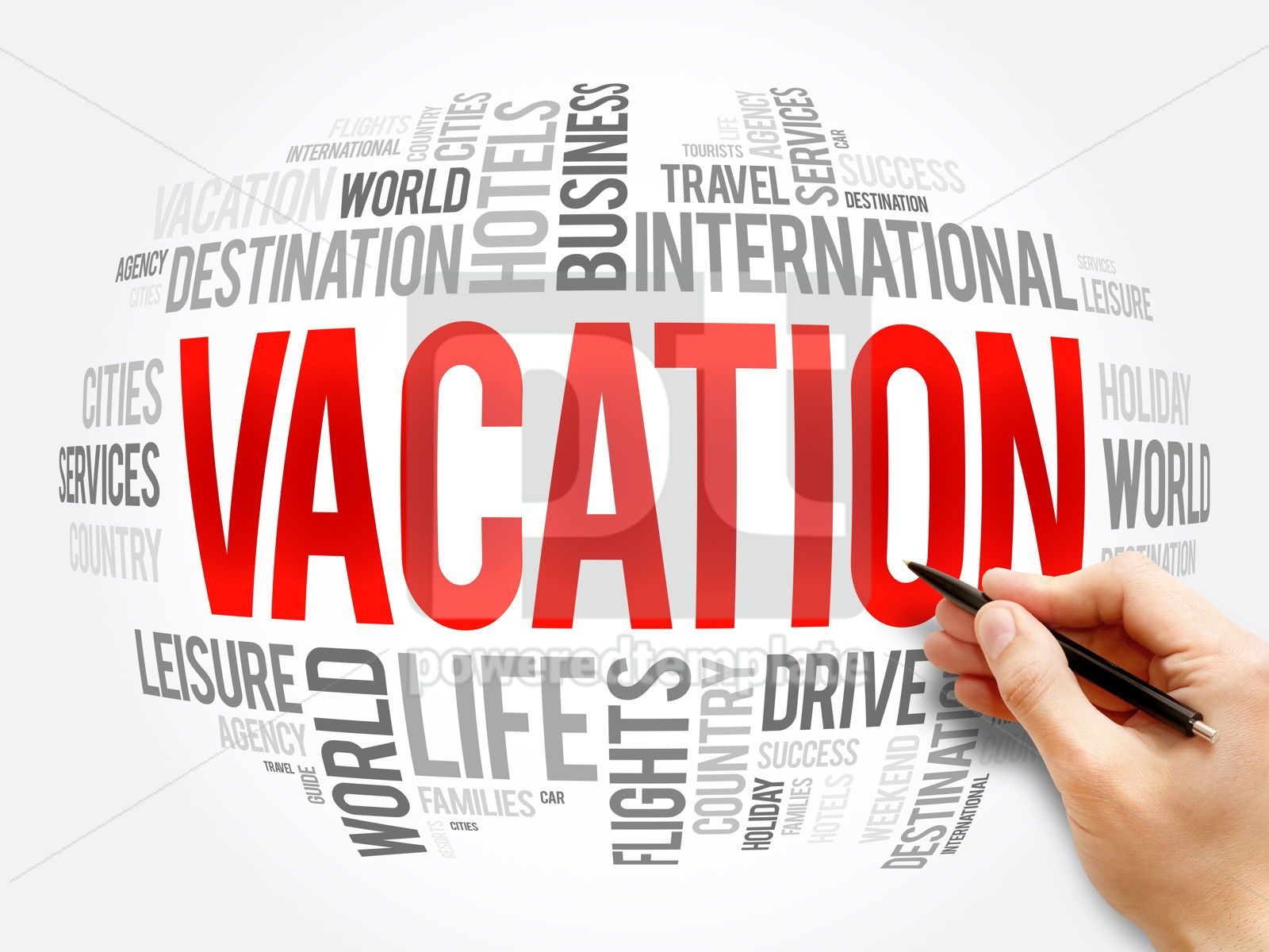 Vacation word cloud collage travel concept, 16322, Business — PoweredTemplate.com
