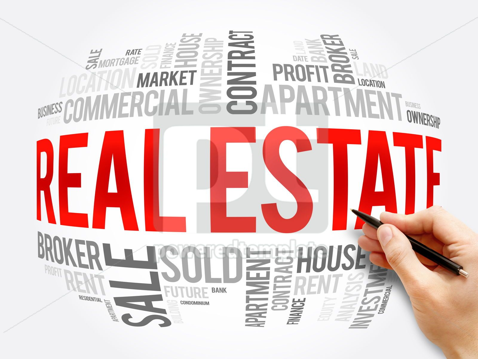 Real Estate word cloud collage business concept, 16339, Business — PoweredTemplate.com