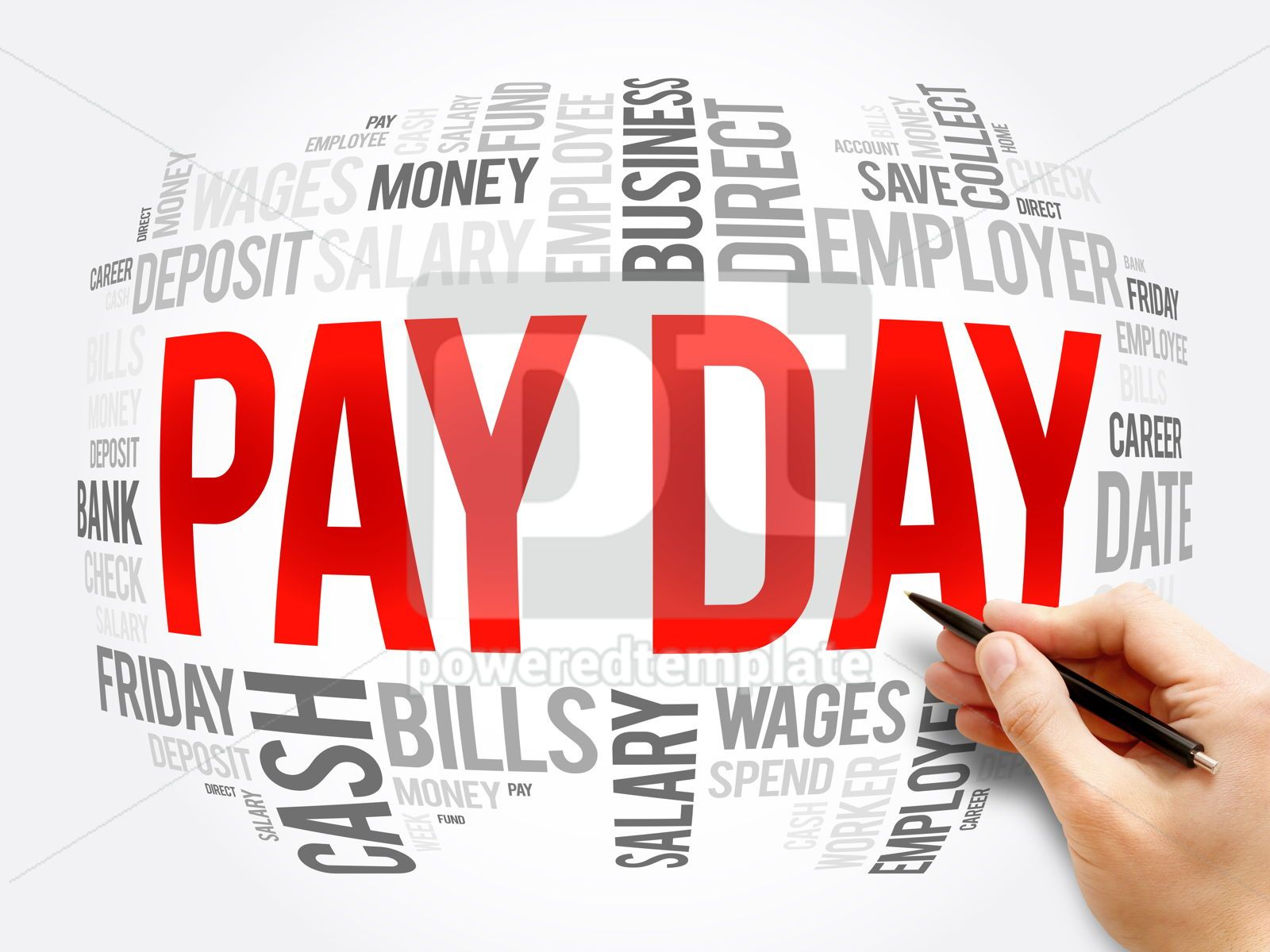 Pay Day word cloud collage business concept, 16341, Business — PoweredTemplate.com