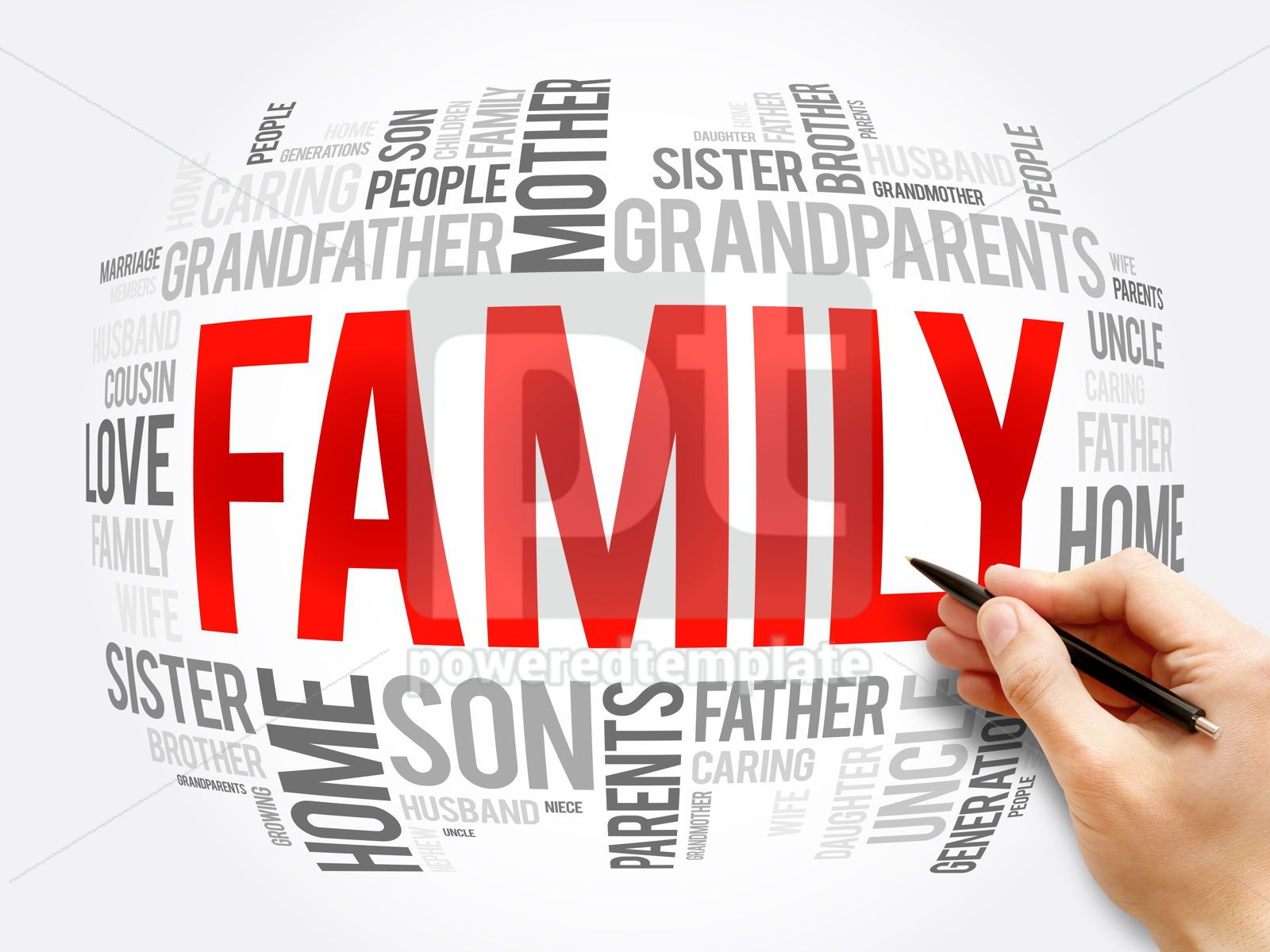 Family word cloud collage social concept, 16342, Business — PoweredTemplate.com