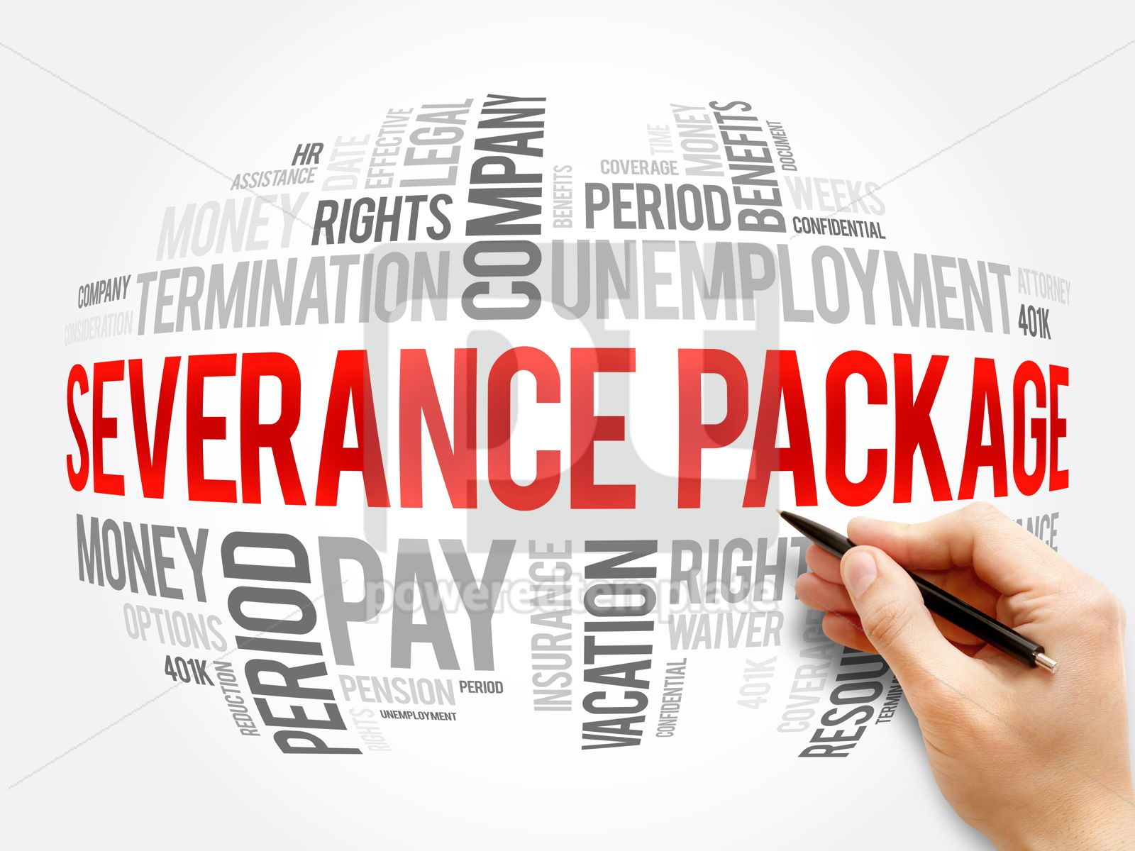 Severance package word cloud collage, 16346, Business — PoweredTemplate.com