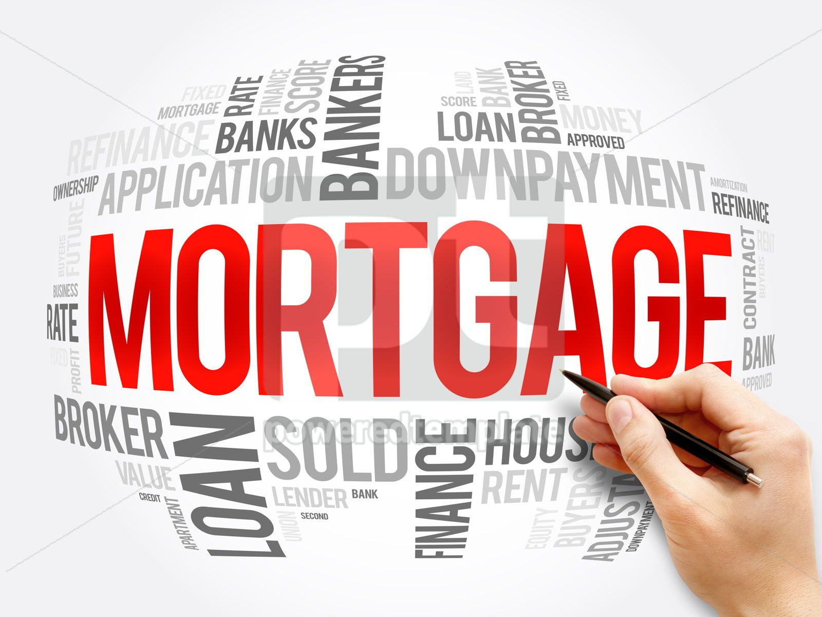 Mortgage word cloud collage business concept, 16356, Business — PoweredTemplate.com