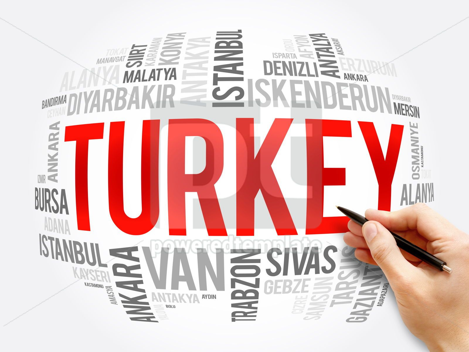 List of cities in Turkey word cloud collage, 16362, Business — PoweredTemplate.com