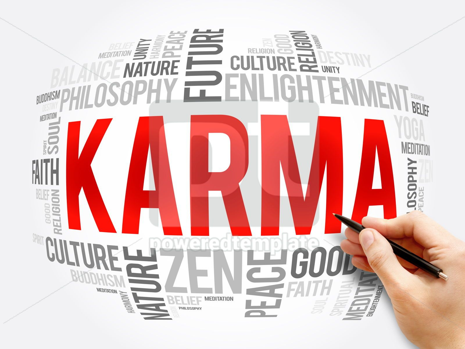 Karma word cloud collage religion concept, 16365, Business — PoweredTemplate.com