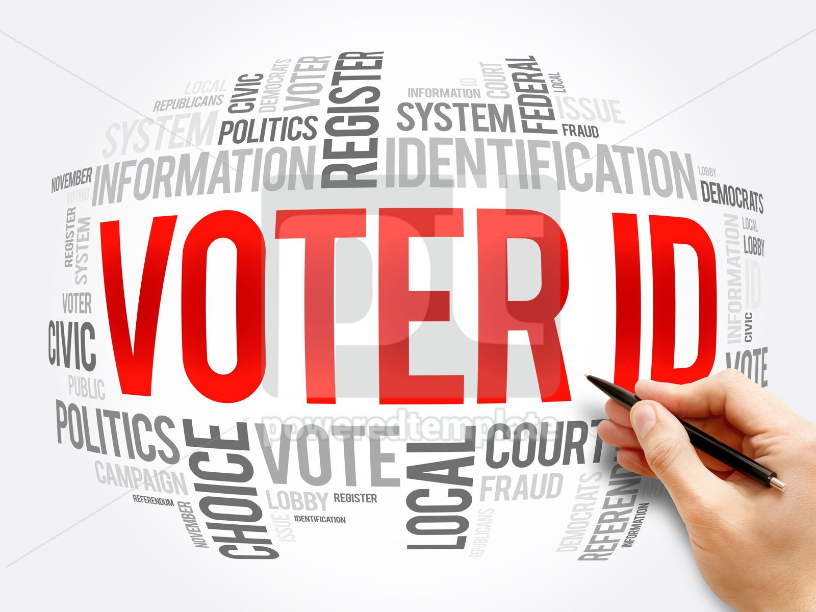 Voter ID word cloud collage social concept, 16366, Business — PoweredTemplate.com
