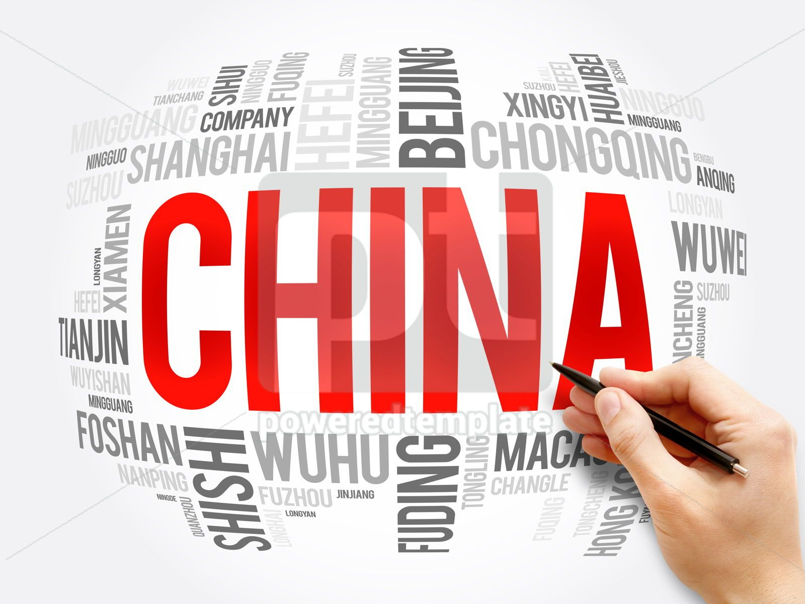 List of cities in China word cloud collage, 16375, Business — PoweredTemplate.com