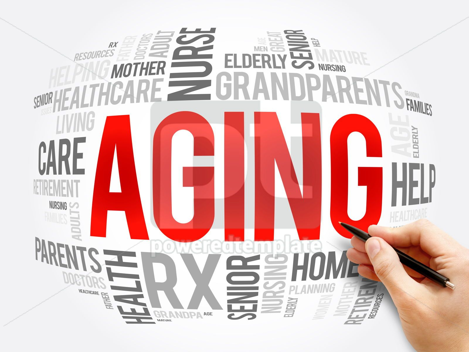 Aging word cloud collage social concept, 16379, Business — PoweredTemplate.com