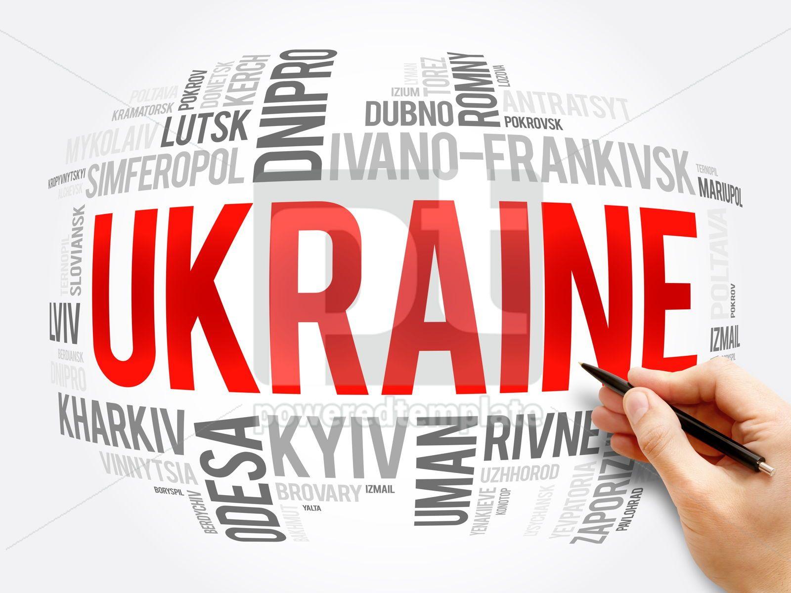 List of cities in Ukraine word cloud collage, 16380, Business — PoweredTemplate.com