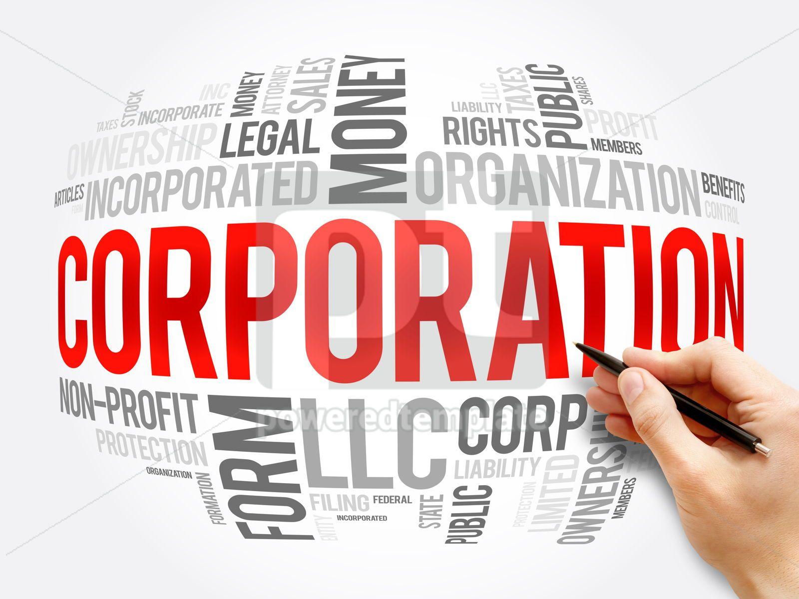 Corporation word cloud collage business concept, 16381, Business — PoweredTemplate.com