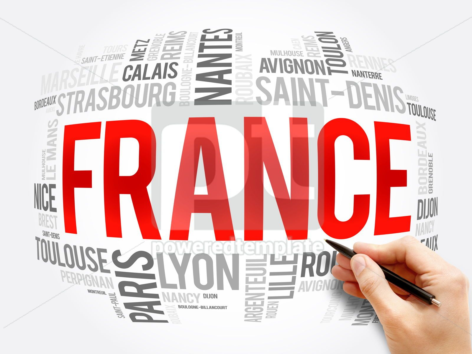 List of cities and towns in France word cloud, 16382, Business — PoweredTemplate.com