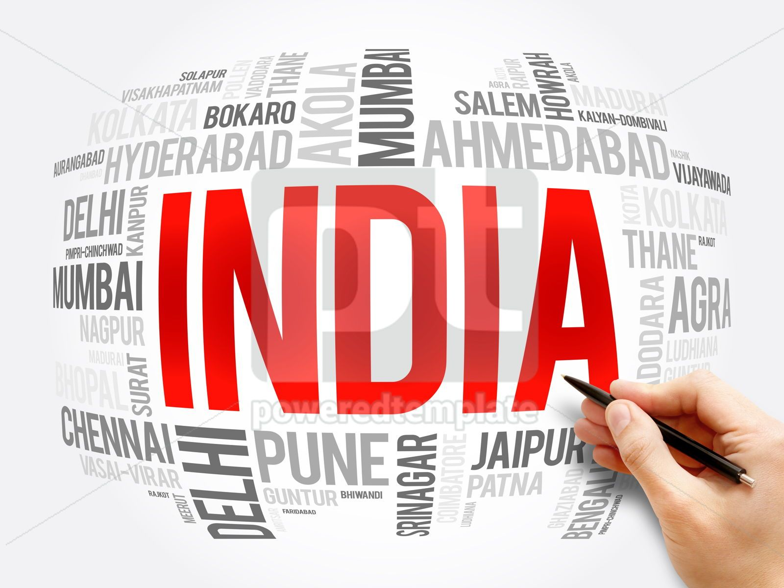 List of cities in India word cloud collage, 16387, Business — PoweredTemplate.com