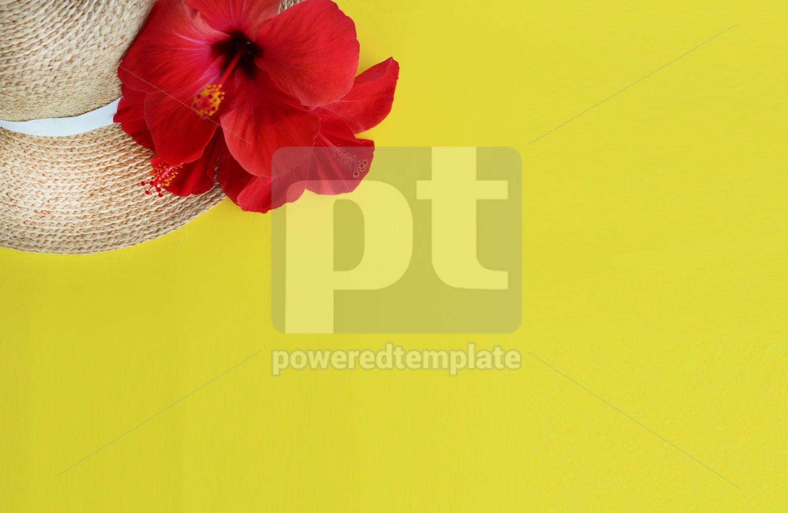 Summer yellow background with straw hat and hibiscus flower, 16389, Holidays — PoweredTemplate.com
