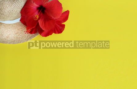 Holidays: Summer yellow background with straw hat and hibiscus flower #16389