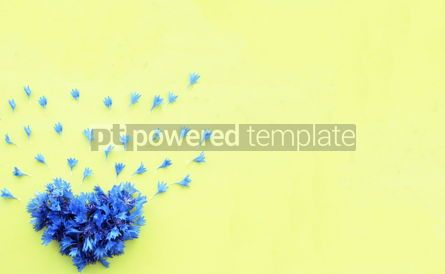 Holidays: Cornflower floral heart on yellow background #16392