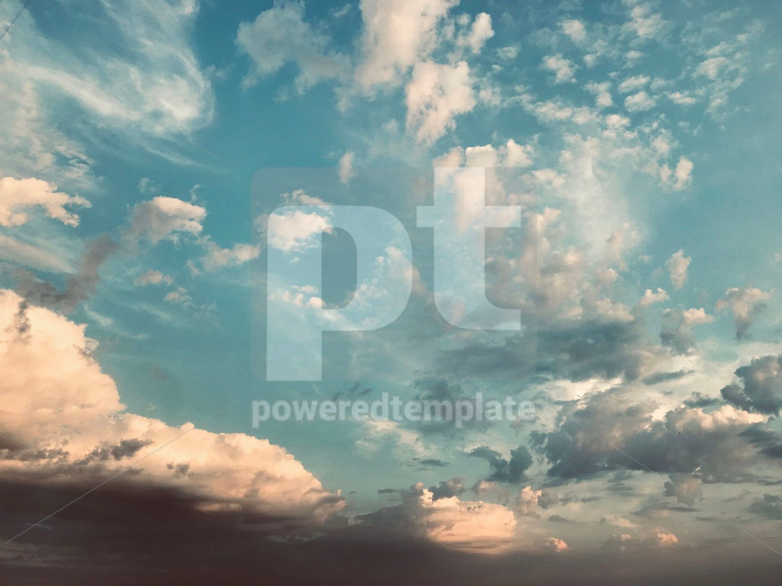 Blue sky with white clouds in retro style, 16399, Nature — PoweredTemplate.com