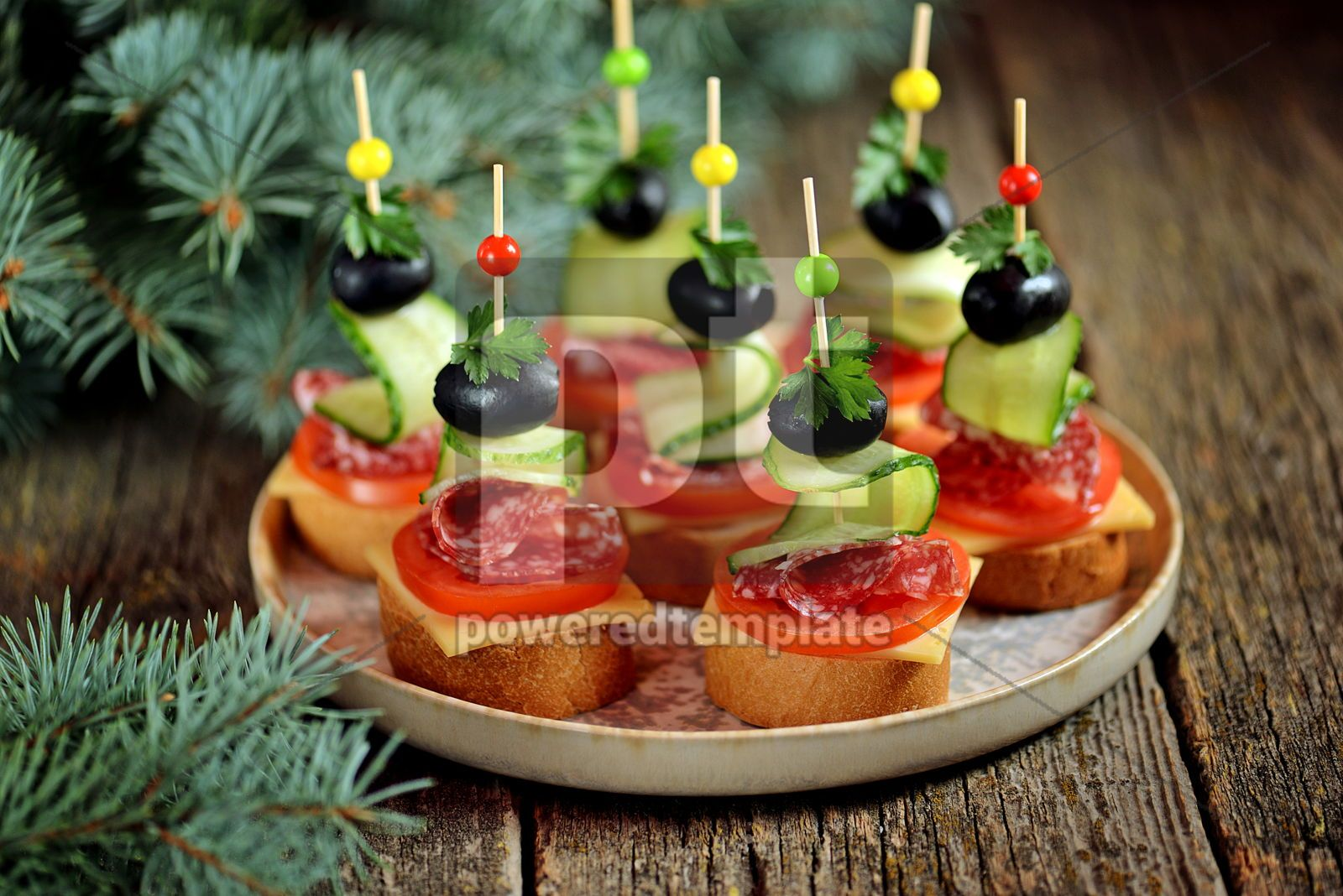 Christmas canape on skewer from bread baguette with toast cheese and sausage, 16404, Food & Drink — PoweredTemplate.com