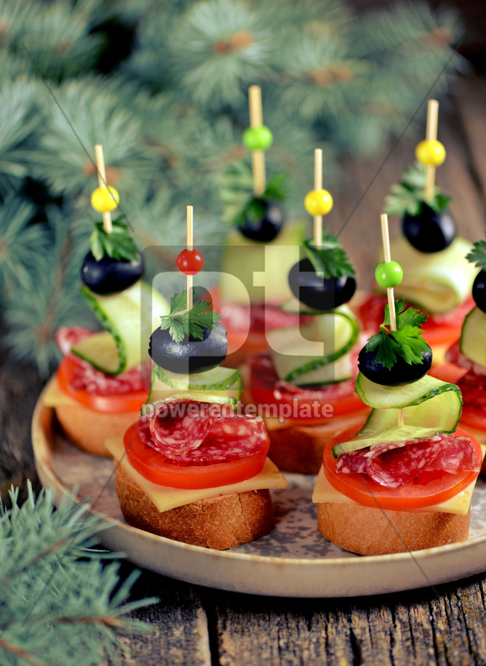 Christmas canape on skewer from bread baguette with toast cheese and sausage, 16405, Food & Drink — PoweredTemplate.com