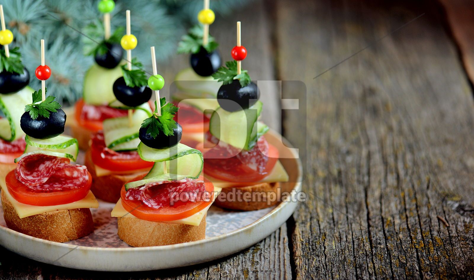 Christmas canape on skewer from bread baguette with toast cheese and sausage, 16406, Food & Drink — PoweredTemplate.com