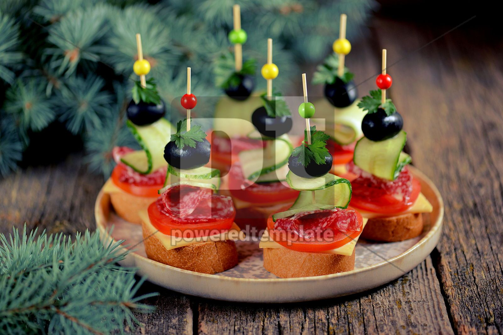 Christmas canape on skewer from bread baguette with toast cheese and sausage, 16407, Food & Drink — PoweredTemplate.com
