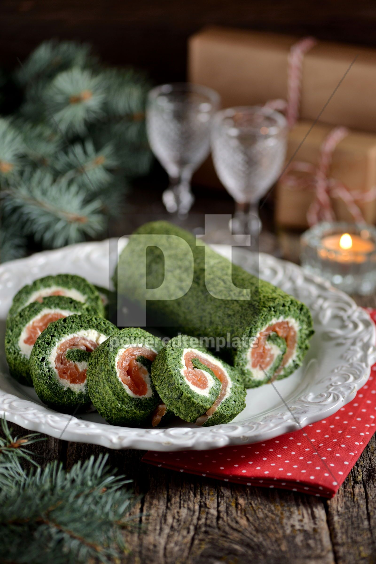 Spinach roll with smoked salmon and cream cheese, 16409, Food & Drink — PoweredTemplate.com