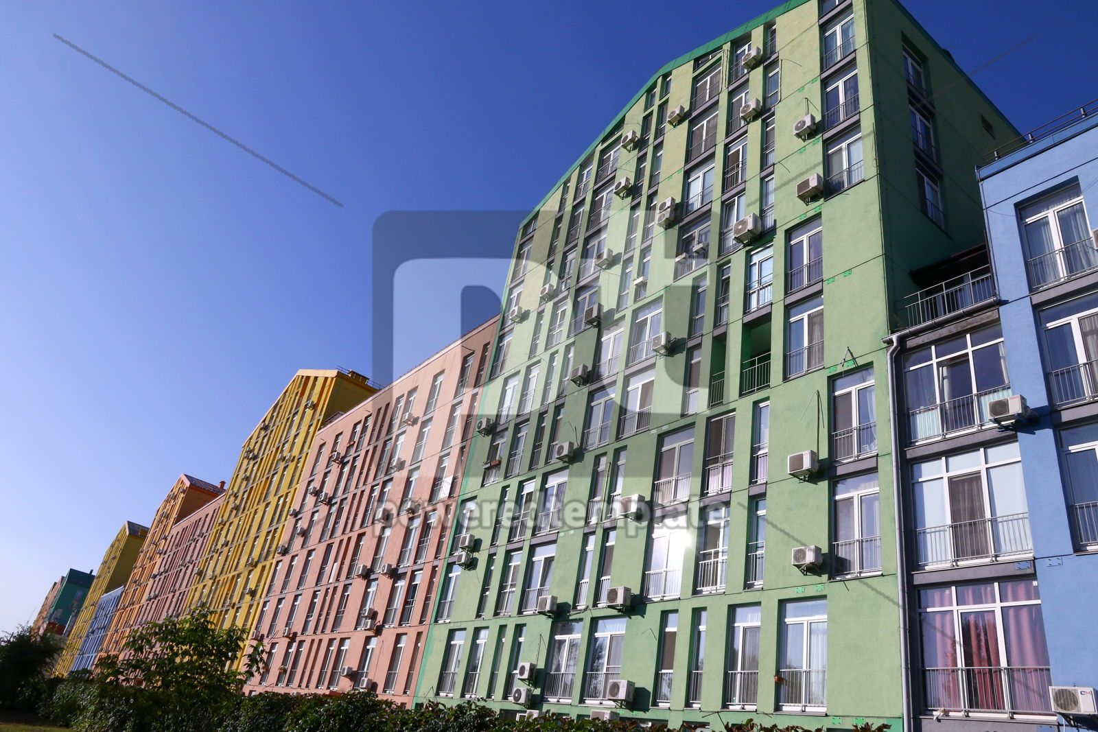 Colorful houses of modern housing estate Comfort Town in Kyiv U, 16420, Architecture  — PoweredTemplate.com