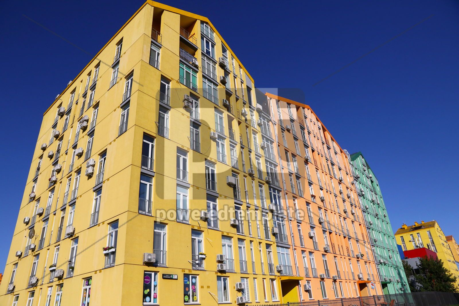 Colorful houses of modern housing estate Comfort Town in Kyiv U, 16421, Architecture  — PoweredTemplate.com