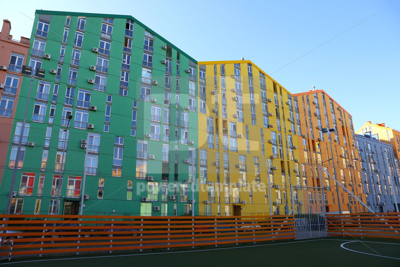 Colorful houses of modern housing estate Comfort Town in Kyiv U, 16422, Architecture  — PoweredTemplate.com