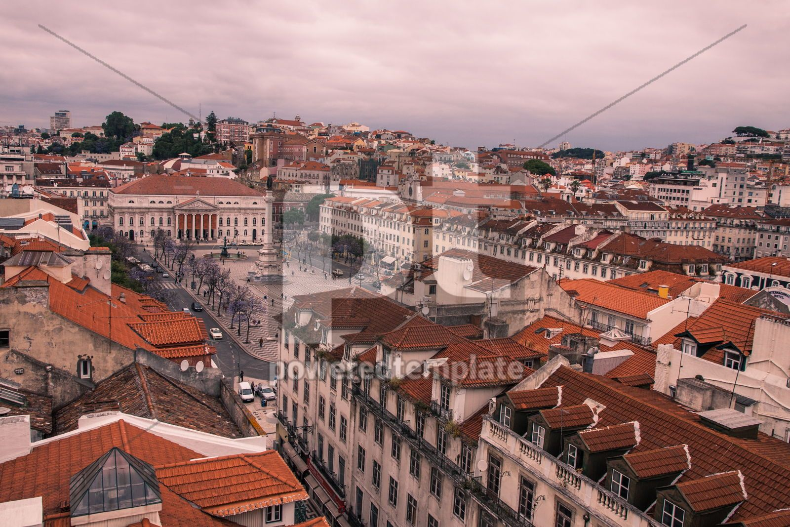 Aerial view of Lisbon old city Portugal, 16428, Architecture  — PoweredTemplate.com