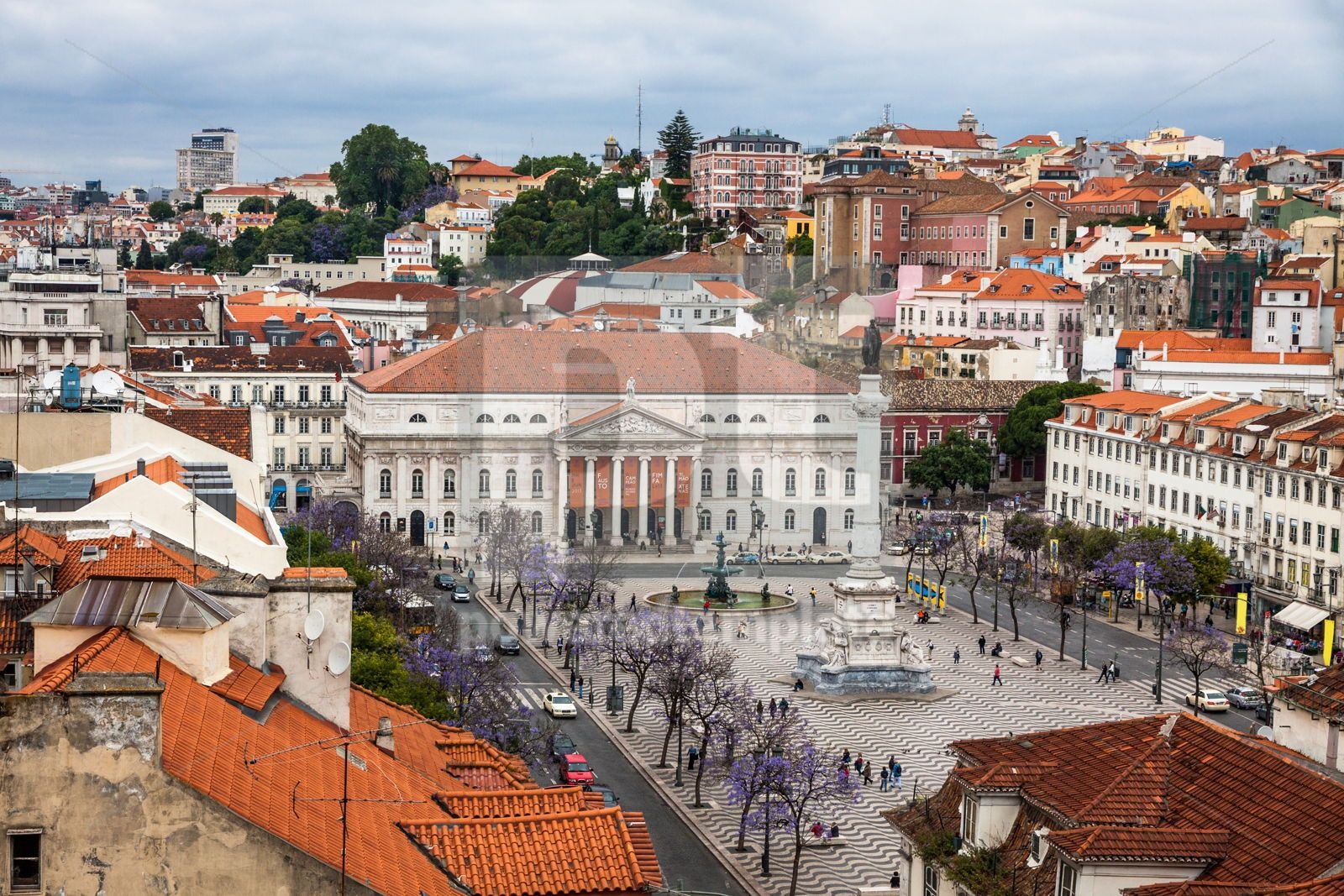 Aerial view of Lisbon old city Portugal, 16430, Architecture  — PoweredTemplate.com