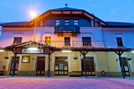 Transportation: Building of railway station Bled Jezero near Lake Bled Slovenia #16436