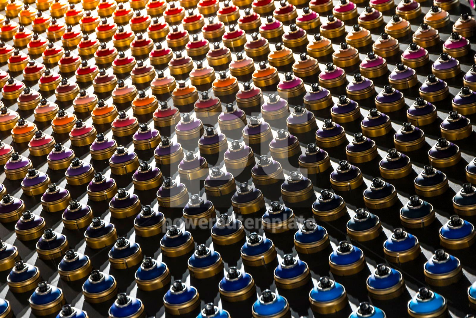 Rows of color paint spray cans placed on a black wall, 16456, Abstract — PoweredTemplate.com