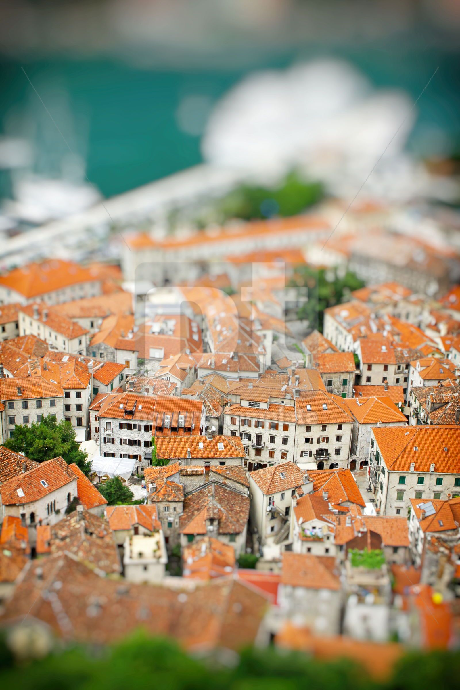 Kotor old town Montenegro Tilt-shift Miniature Effect, 16461, Architecture  — PoweredTemplate.com