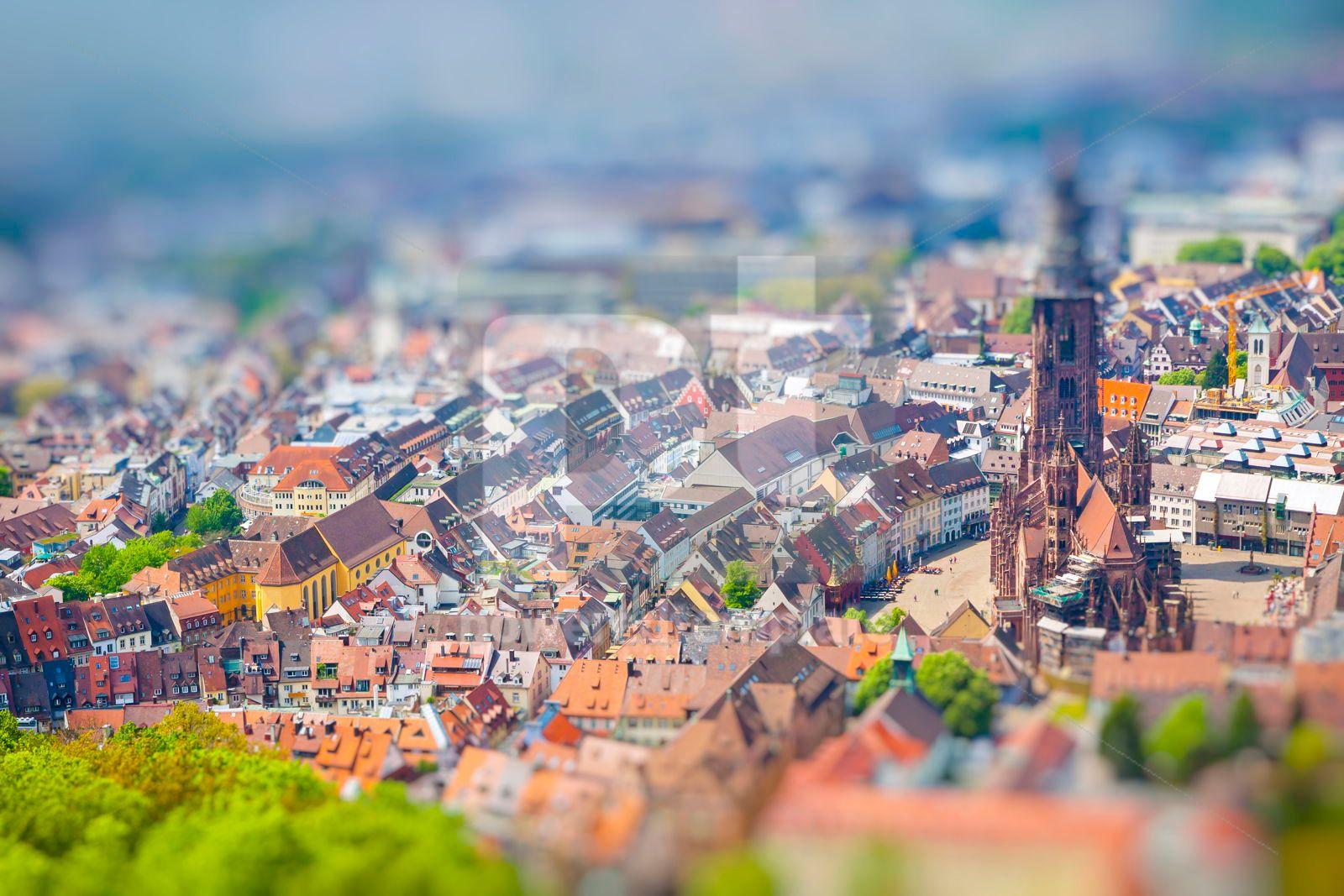 Aerial view of Freiburg im Breisgau Germany Tilt-shift Miniatu, 16462, Architecture  — PoweredTemplate.com