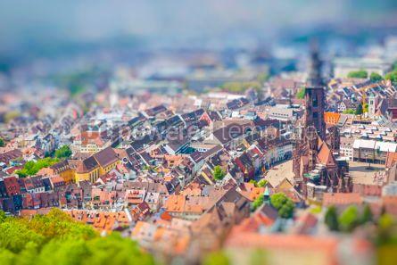 Architecture : Aerial view of Freiburg im Breisgau Germany Tilt-shift Miniatu #16462