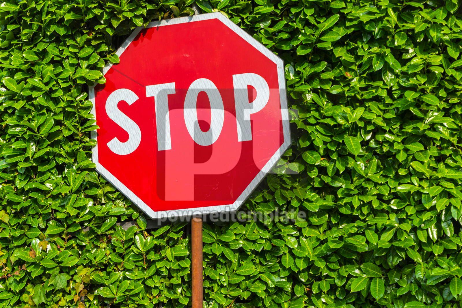Red hexagonal stop sign on metal pole, 16464, Transportation — PoweredTemplate.com