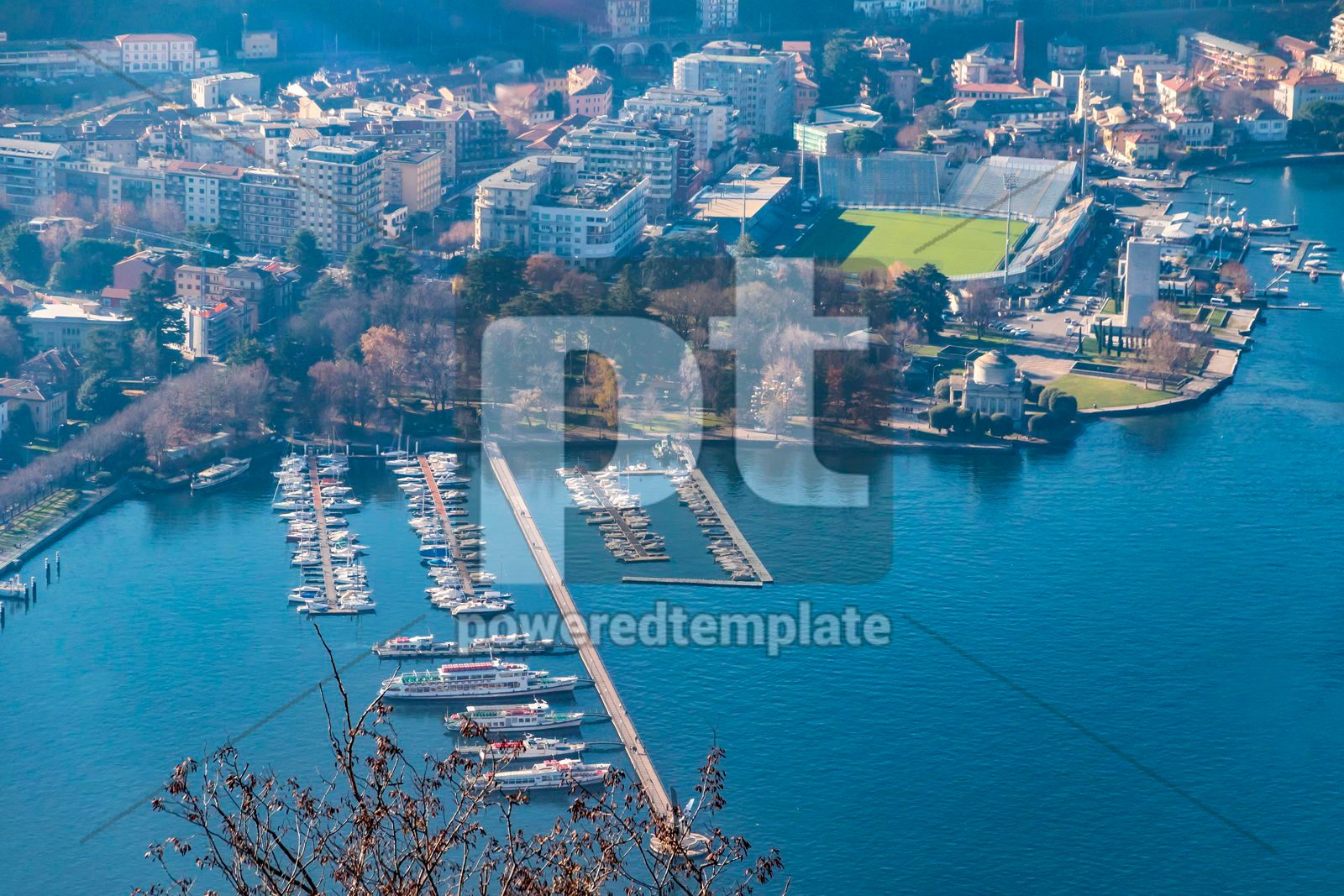 Aerial view of City of Como on Lake Como Italy, 16476, Architecture  — PoweredTemplate.com