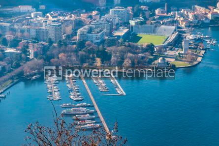 Architecture : Aerial view of City of Como on Lake Como Italy #16476