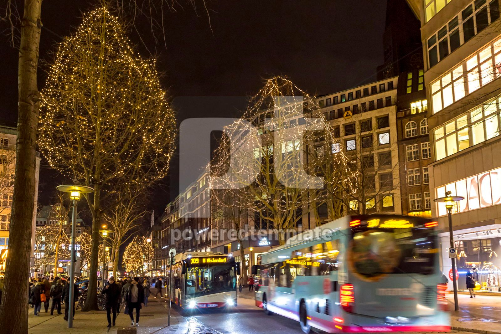 Monckebergstrasse one of the main shopping streets in Hamburg Germany, 16478, Architecture  — PoweredTemplate.com