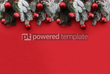 Holidays: Red Christmas background with fir branches and red xmas decorations #16486