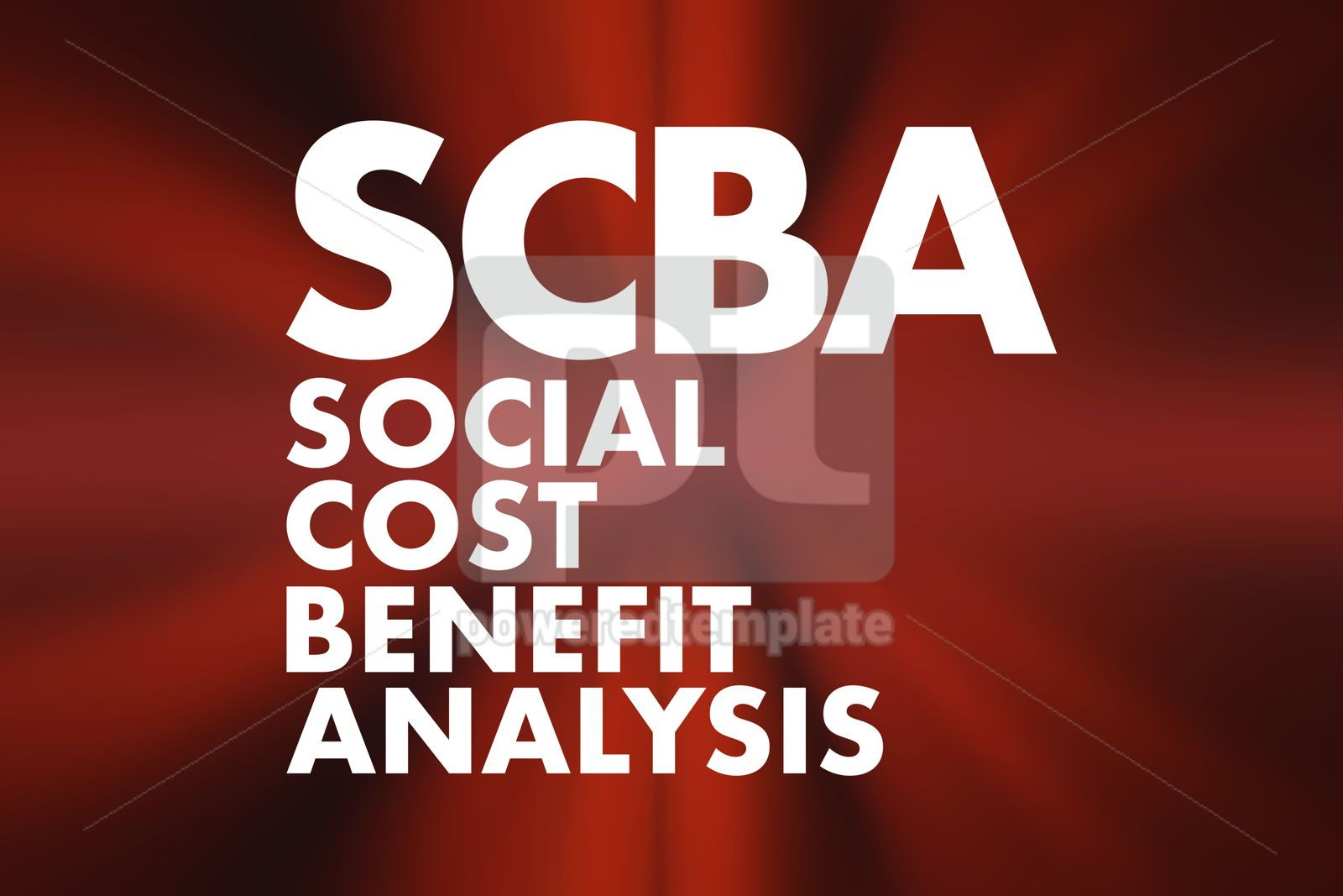 SCBA - Social Cost Benefit Analysis acronym business concept ba, 16673, Business — PoweredTemplate.com