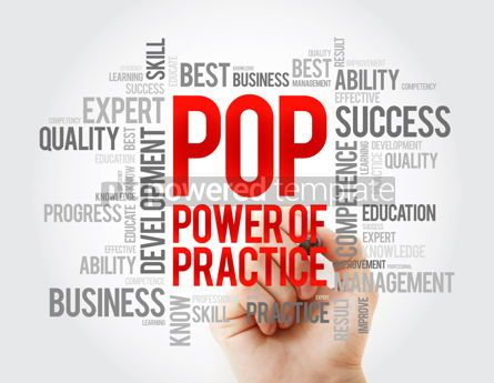 Business: POP - Power Of Practice word cloud business concept background #17068