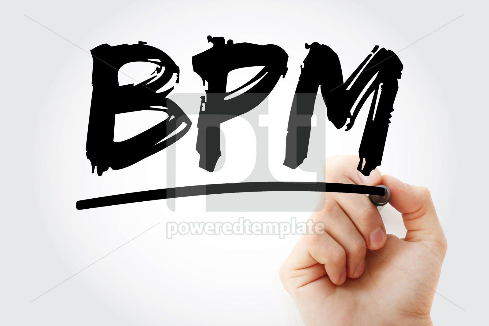 BPM - Business Process Management acronym with marker concept b, 17076, Business — PoweredTemplate.com