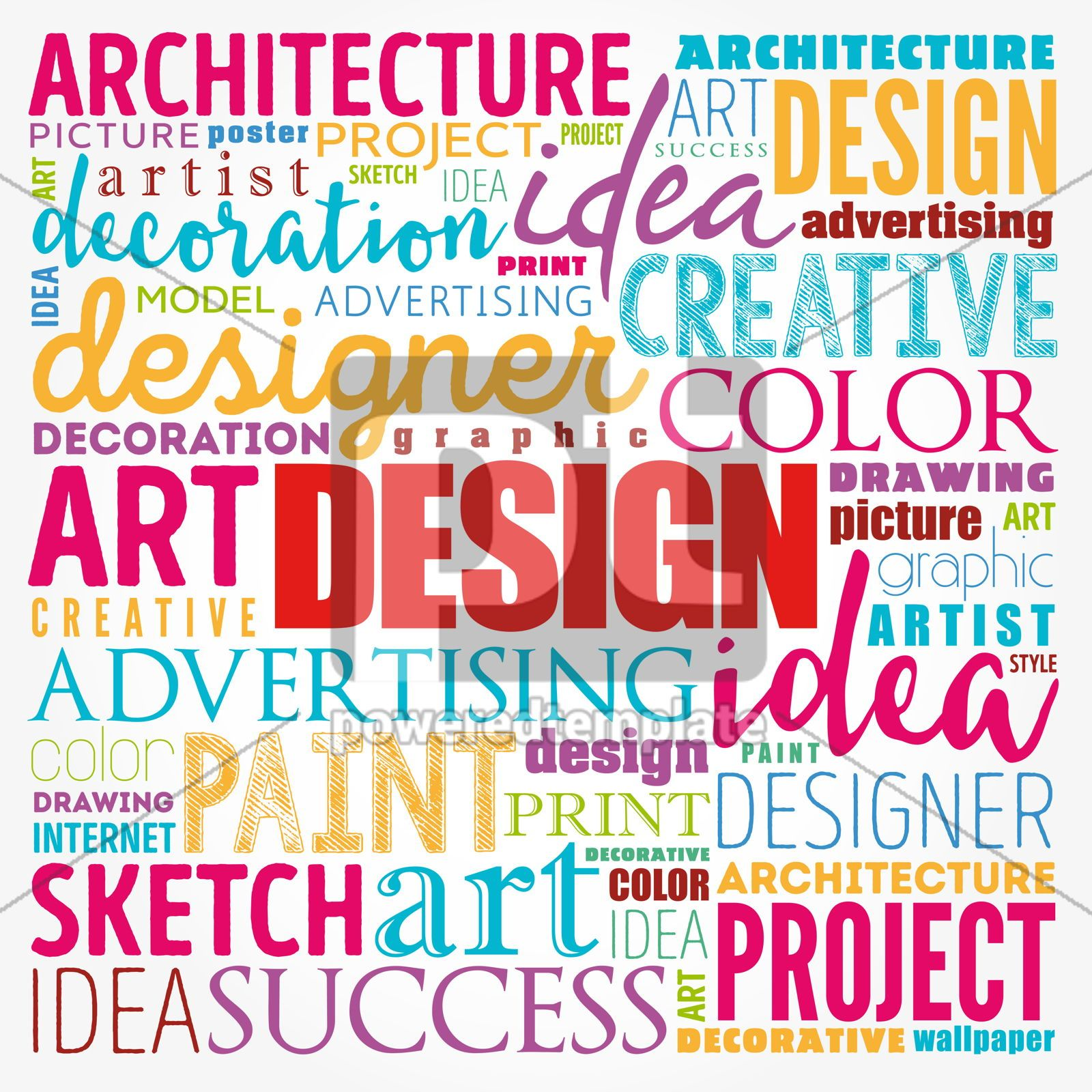 DESIGN word cloud collage creative business concept background, 17175, Business — PoweredTemplate.com