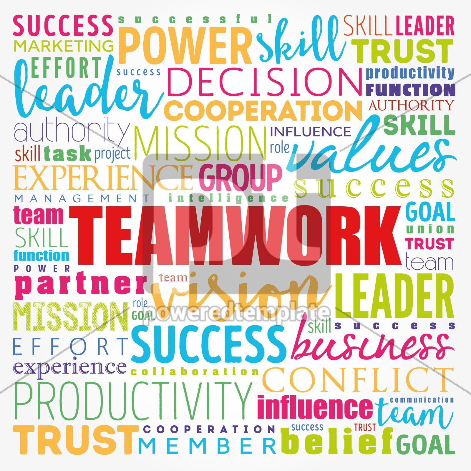 TEAMWORK word cloud collage business concept background, 17185, Business — PoweredTemplate.com
