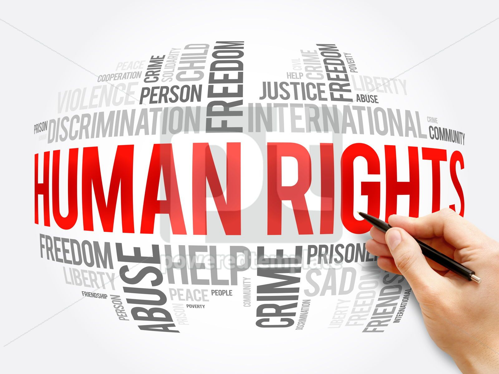 Human rights word cloud collage social concept, 17275, Business — PoweredTemplate.com