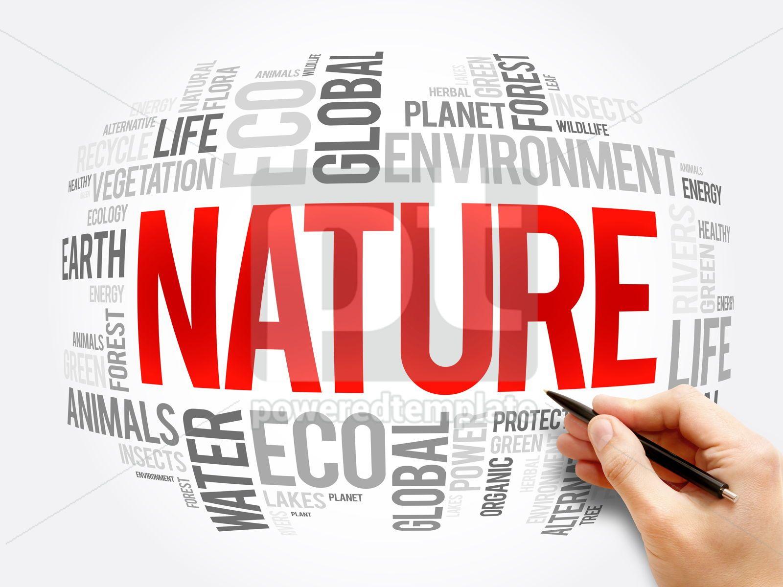 Nature word cloud collage ecology concept, 17293, Business — PoweredTemplate.com