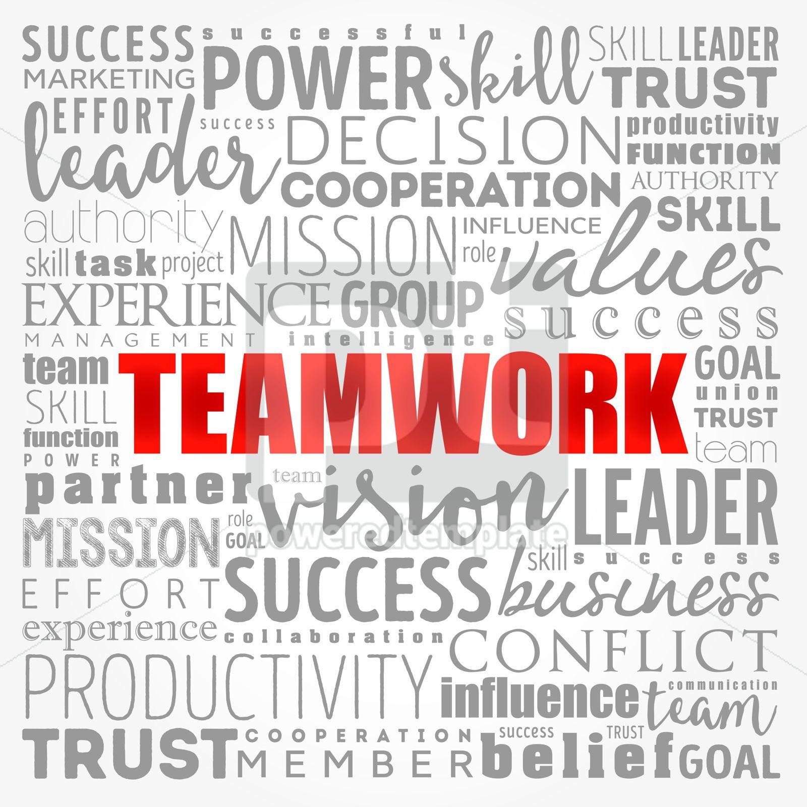 TEAMWORK word cloud collage business concept background, 17330, Business — PoweredTemplate.com