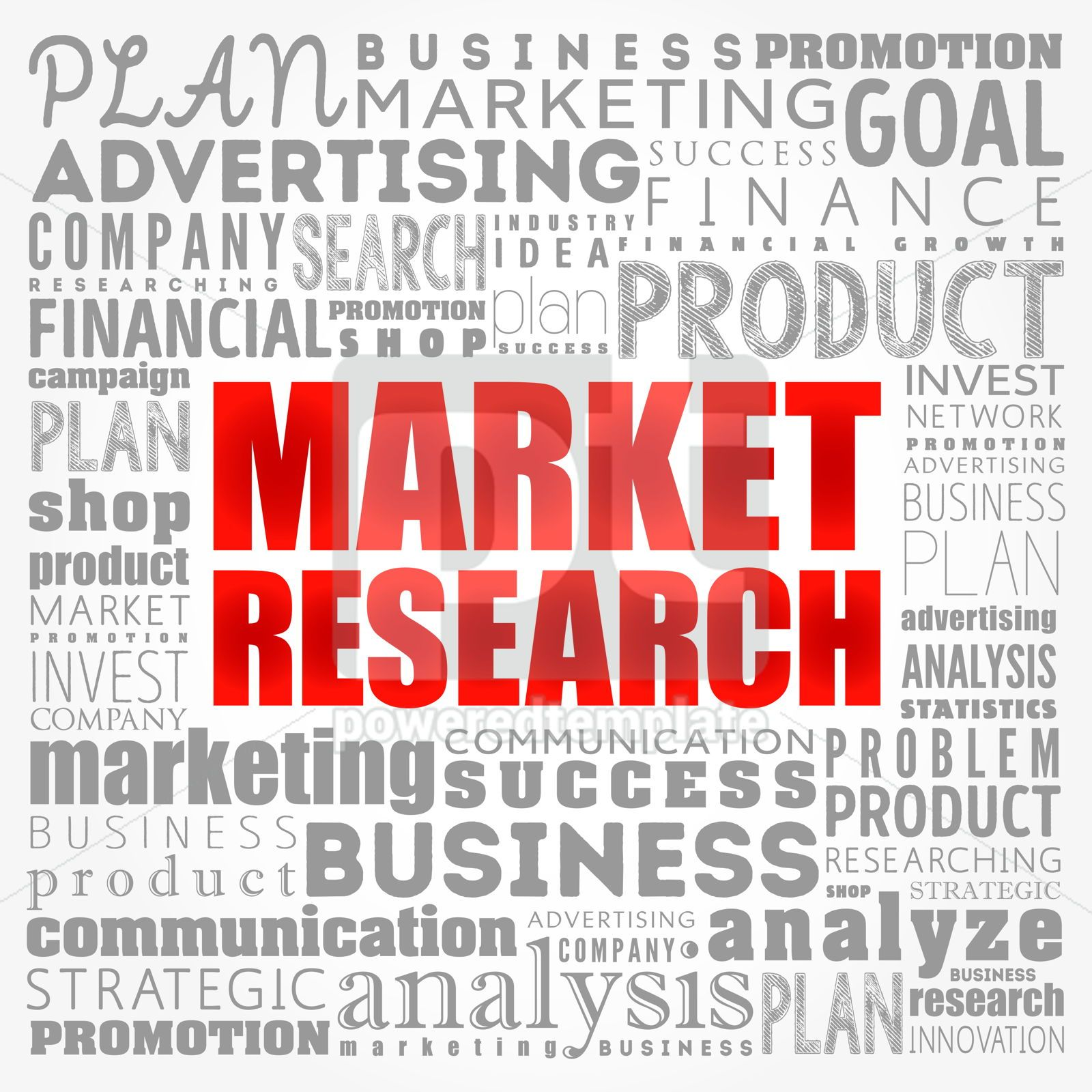 Market research word cloud collage business concept background, 17331, Business — PoweredTemplate.com